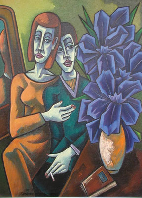 Vor Blumenstrauß  1990  85 x 115