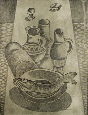Stillleben mit Fisch  1977  30 x 39,5 ( Ätz )          ( 2 )