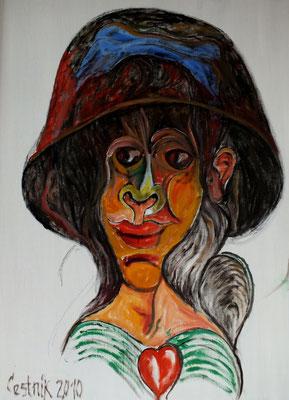 Frauenkopf mit Hut  2010  75 x 100