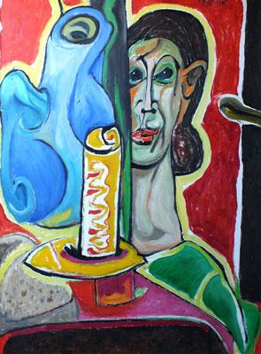 Stillleben mit Mädchenkopf  2009  75 x 100