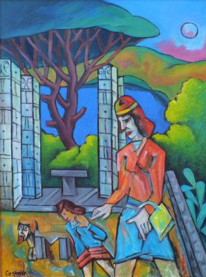 Tempel auf Ischia  2008  75 x 100