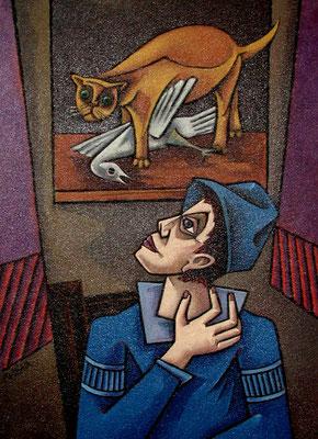Junge mit Katze  1993  85 x 115