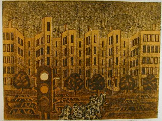 Straße  1976  39,5 x 29,5 ( Ätz )        ( 3 )