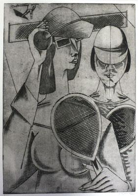 Tennisspielerinnen  1985  37,5 x 54