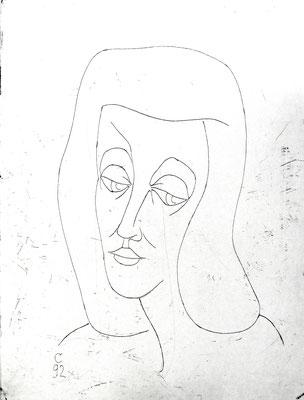 Mädchenkopf  1992  29,5 x 39 ( Ätz )         ( 3 )