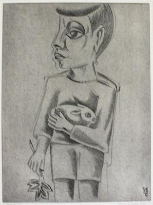 Junge mit Hase II  1996  29,5 x 39,5      ( 2 )