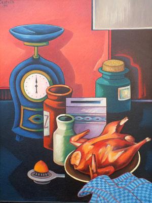 Stillleben mit Brathuhn  1990  76 x 100