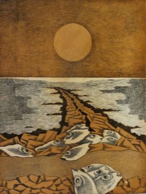 Buhne bei Dagebüll  1977  30 x 39,5 ( Ätz )