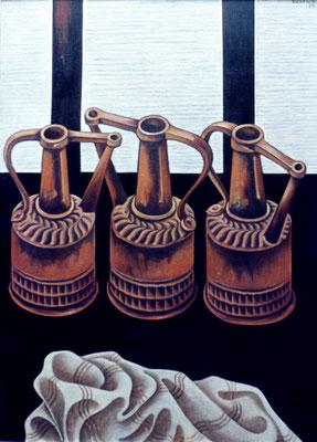 Stillleben mit Kupferkannen  1975    79 x 110
