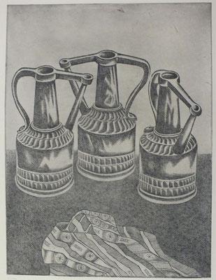 Stillleben mit Kupferkannen  1977  29,5 x 40 ( Ätz )     ( 2 )
