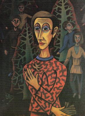 Gestalten kommen  1985    82 x 112  Eigentum Martin-Wagner Museum Würzburg