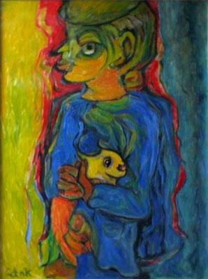 Junge mit Hase  2008  75 x 100