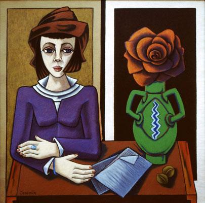 Frau mit Mütze    92 x 90