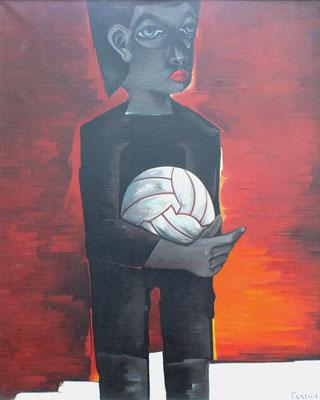 Junge mit Fußball  1980  81 x 98