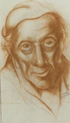 Alter Mann aus Altersheim IV  1948  22,5 x 39 ( Kreide )