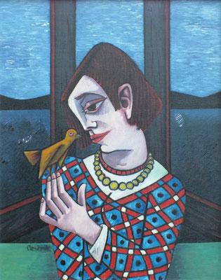 Mädchen mit Vogel  1979  80 x 100