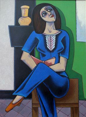 Sitzende Frau mit Buch  1998 82 x 110