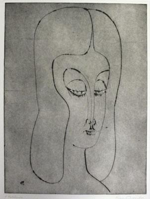 Mädchenkopf mit langem Haar  1992  29,5 x 39,5