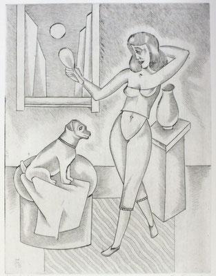 Frau mit Spiegel II  1996  30 x 39,5