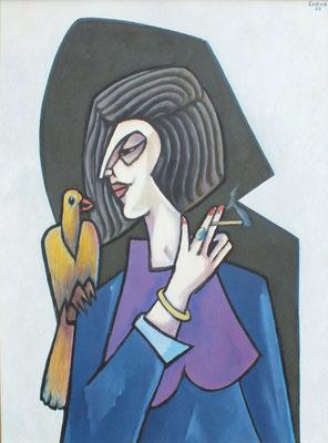 Dame mit Vogel  2005  75 x 100