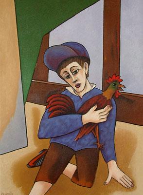 Junge mit Hahn  1995  82 x 110
