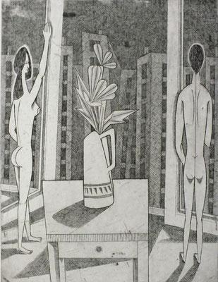 Ehepaar vor Fensterfront  1979  29,5 x 39,5 ( Ätz )     ( 1 )