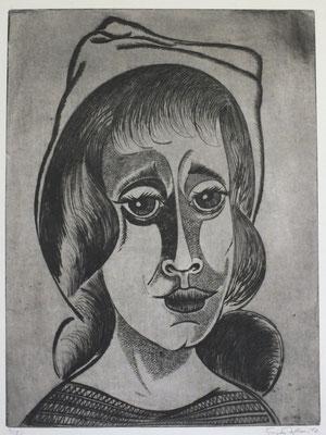 Kopf mit Hut  1976  30 x 39,5         ( 4 )