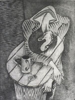 Trinker II  1976  30 x 39,5 ( Ätz )         ( 3 )