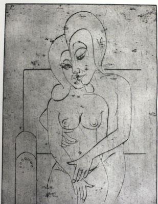 Liebespaar auf Sofa  1982  29,5 x 39,5