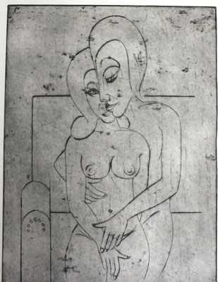 Liebespaar auf Sofa  1982  29,5 x 39,5            ( 3 )