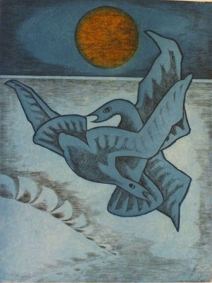 Vogelpaar  1977  30 x 39,5 ( Ätz )      ( 1 )