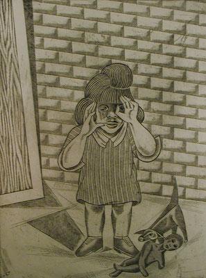 Kind mit Puppe  1979  30 x 39,5 ( Ätz )         ( 3 )