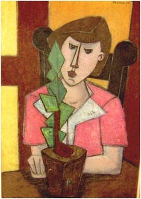 Frau mit Gewächs   1954       85 x 116