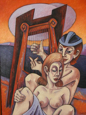 Frau und Harfe Spieler  1998  85 x 115