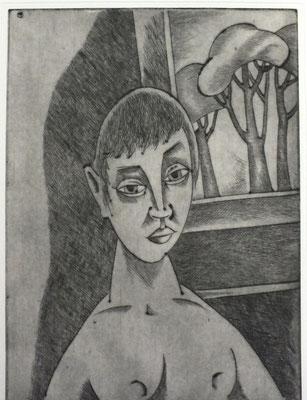 Halbakt am Fenster  1983  29,5 x 39,5