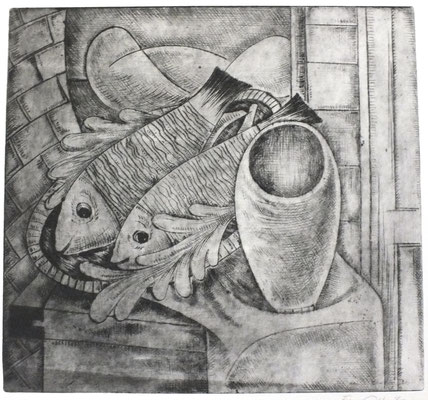 Stillleben mit Fische  1962  31 x 30      ( 4 )