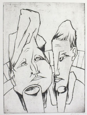 Trinkendes Paar  1962  29,5 x 41