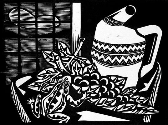 Stillleben mit Frosch  1983  52 x 39    Platte vorhanden