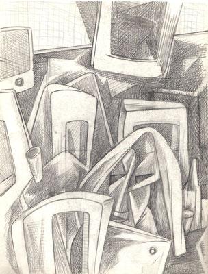 Stillleben mit roten Stühlen 1976