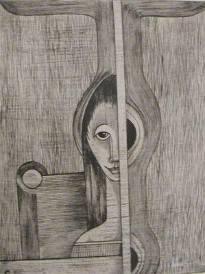 Frau am Fenster  1969  30 x 39,5