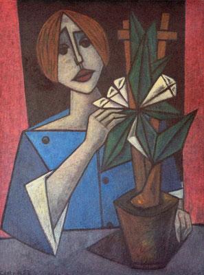 Frau mit Topfblume  1957    75,5 x 99,7
