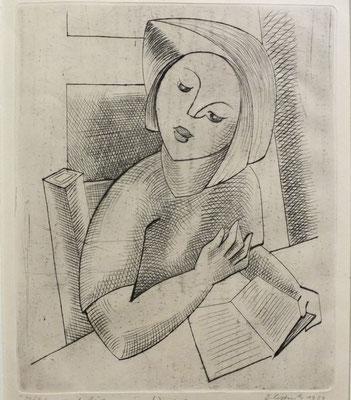 Mädchen mit Buch  1954  19,6 x 23,9