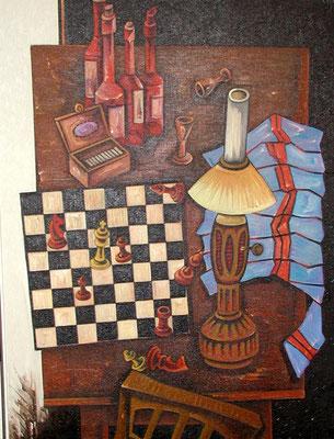 Stillleben mit Schachspiel  1975  90 x 120