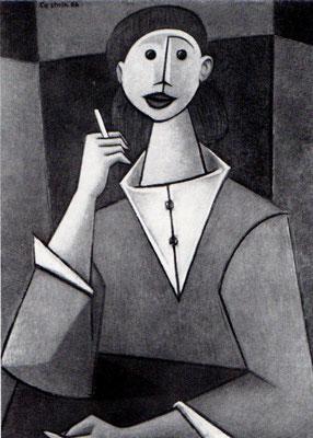 Frau mit Zigarette  1956    72 x 90