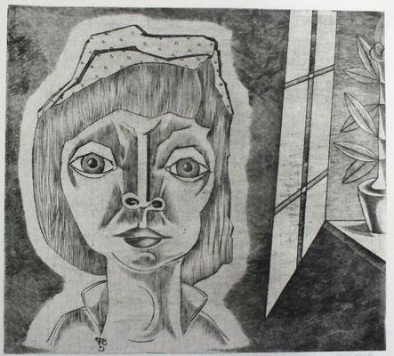 Frau am Fenster  1978  44,5 x 40,5