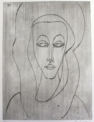Frau mit Schleier  1990  29,5 x 39,5