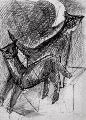 Katzen  1948  27 x 38 ( Blei )