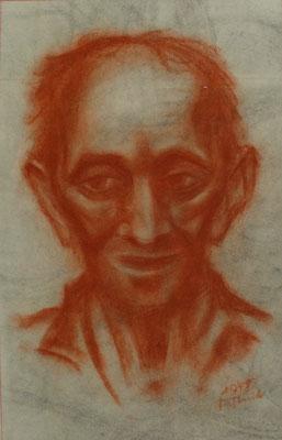 Alter Mann aus Altersheim III 1948  24 x 37,5 ( Kreide )