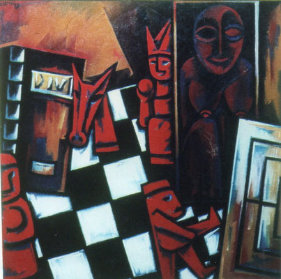 Stillleben mit Schachspiel  1967