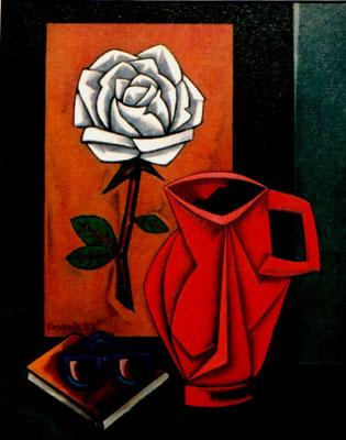Stillleben mit weißer Rose  1987